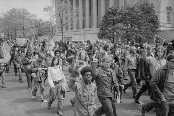 "Warren K. Leffler. ""Protestors Outside the Justice Building, 1971."""