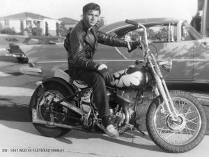 "Dick Dale, 1941, on his WLD 45 Flathead Harley. See his 1963 performance of ""Misirlou"" at Riot Material."