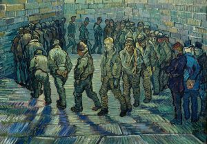 Vincent van Gogh, Prisoners Exercising (Taking the Air in a Prison Yard) -- detail. A review of Van Gogh and Britain, at Tate London, is at Riot Material Magazine.