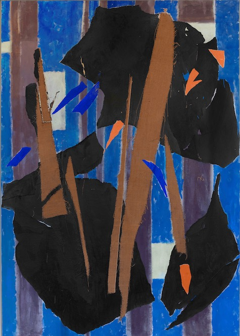 Lee Krasner, Blue Level, 1955. Lee Krasner: Living Colour is reviewed at Riot Material Magazine.