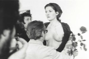 "An encounter from an audience member in Marina Abramovic's ""Rhytm 0"" (1974)"