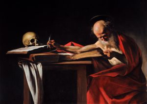 Caravaggio's Saint Jerome Writing (aka Saint Jerome in His Study). c. 1605-1606
