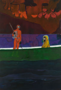 Peter Doig, Spearfisher (Red Moon). Doig's latest exhibition is reviewed at Riot Material magazine.