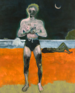 Peter Doig, Bather (Night Wave). Doig's latest exhibition is reviewed at Riot Material magazine.