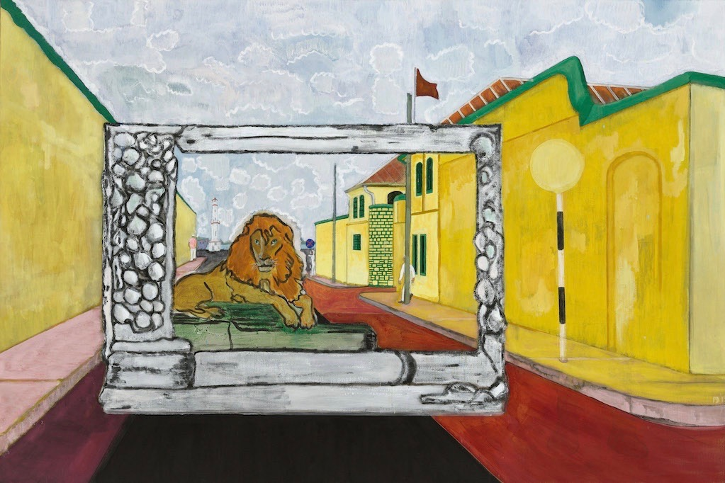 Peter Doig, Lion in the Road (Sailors). Doig's latest exhibition is reviewed at Riot Material magazine.