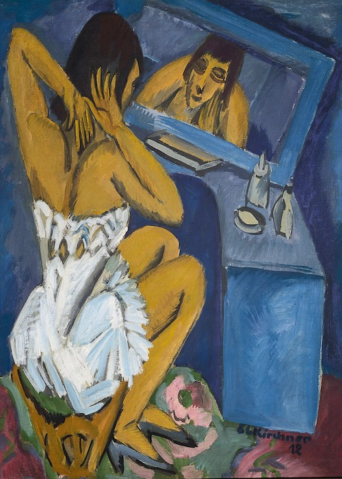 Ernst Ludwig Kirchner, The Toilette, 1913-20. A review of Kirchner's exhibition at Neue Museum, NYC, is at Riot Material, LA's premier art magazine.