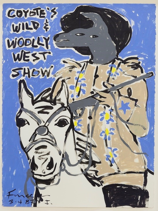Harry Fonseca. Wild & Woolly West Show #1, 1987. A review of Fonseca's current exhibition at the Autry Museum is at Riot Material magazine.