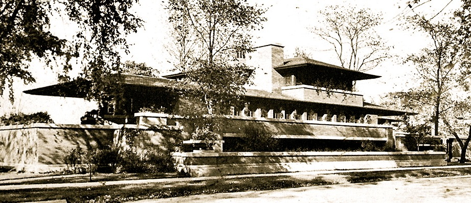 Prairie Style Robie House in Chicago by Frank Lloyd Wright