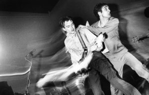 Gang Of Four, Jon King, Andy Gill, performing on stage, Hof Ter Lo, Antwerp, Belgium, 2nd May 1981.