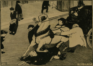 "Félix Vallotton, The Accident / Paris Intense VI The Accident (Paris intense VI L'Accident),1893. The Met's ""Painter of Disquiet is reviewed at Riot Material magazine."