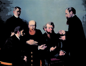 "Félix Vallotton, The Five Painters, 1902. The Met's ""Painter of Disquiet is reviewed at Riot Material magazine."